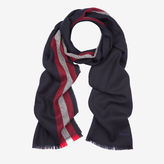 Bally Stripe Wool Scarf Blue, Men's wool scarf in blue navy
