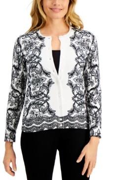 Karen Scott Scroll Delight Button Cardigan, Created for Macy's