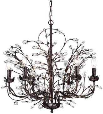 Edvivi Lighting 6-Light Antique Copper Chandelier w/ Vines & Crystals Glam Lighting