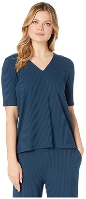 Eileen Fisher Tencel Stretch Rib V-Neck Short Sleeve Top (Storm) Women's Clothing