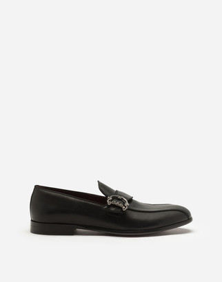 Dolce & Gabbana Calfskin Loafers With Logo