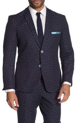 Paisley & Gray Dover Blue Floral Two Button Notch Lapel Slim Fit Suit Separates Jacket