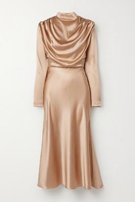 MATÉRIEL Draped Silk-satin Midi Dress - Sand