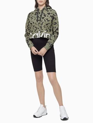 Calvin Klein Performance Leopard Print Cropped Hoodie