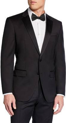 HUGO BOSS Men's Halven Gentry Satin Lapel Wool Two-Piece Tuxedo