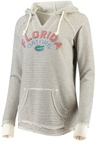 Unbranded Women's Blue 84 Cream Florida Gators Striped French Terry V-Neck Pullover Hoodie