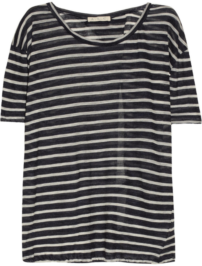 A.L.C. Kimber striped open-back jersey top