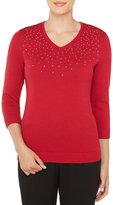 Allison Daley Embellished V-Neck Solid Pullover
