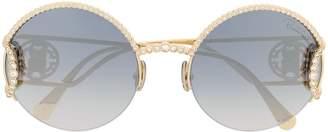Roberto Cavalli monogram round-frame sunglasses