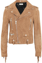Saint Laurent Fringed Suede Biker Jacket - Tan