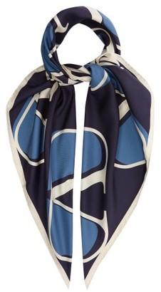 Valentino V-logo Silk-twill Scarf - Womens - Blue