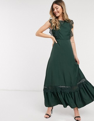 Object satin maxi dress with open back and lace inserts in green