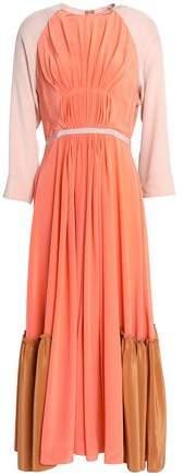Roksanda Pleated Color-Block Silk Crepe De Chine Midi Dress