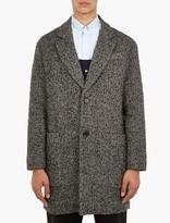 Ami Black Mohair-Blend Herringbone Coat