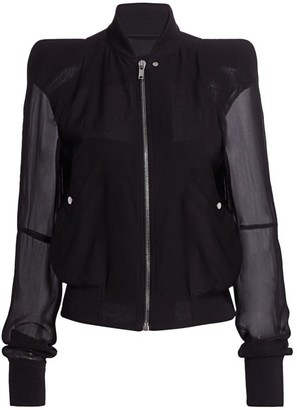 Rick Owens Zionic Sheer-Sleeve Silk & Wool Bomber Jacket