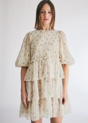 Ganni Women's Pleated Georgette Dress in Egret, Size 36