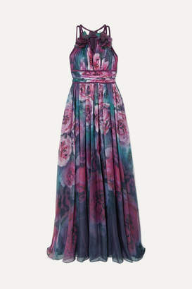 Marchesa Appliqued Pleated Floral-print Chiffon Gown - Pink