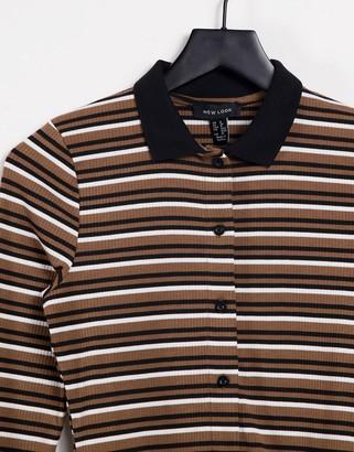 New Look button through collar detail t-shirt in brown stripe