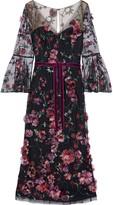 Marchesa Velvet-trimmed Embellished Tulle Midi Dress