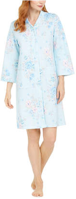 Miss Elaine Quilted Floral-Print Long Zip Robe