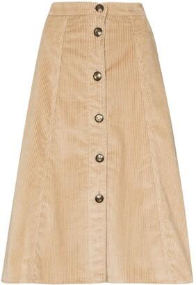 Etro Corduroy Button Midi Skirt
