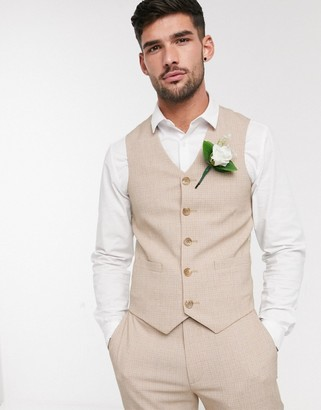 ASOS DESIGN wedding skinny suit waistcoat in crosshatch in camel