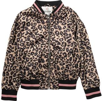 Urban Republic Leopard Print Sateen Bomber Jacket