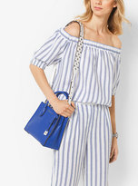 Michael Kors Striped Linen Off-The-Shoulder Top