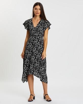 Atmos & Here Atmos&Here - Women's Black Midi Dresses - Kayla Print Wrap Dress - Size 6 at The Iconic