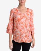 NY Collection Ruffled Bell-Sleeve Top
