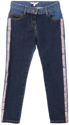 Little Marc Jacobs Stretch Denim Jeans W/ Lurex Side Bands