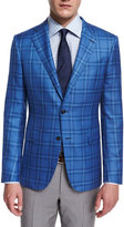 Ermenegildo Zegna Milano Cashmere/Silk Plaid Two-Button Jacket, Light Blue