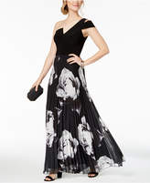 Betsy & Adam One-Shoulder Solid & Floral-Print Gown, Regular & Petite