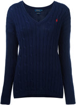 Polo Ralph Lauren cable knit V-neck jumper - women - Cotton - S