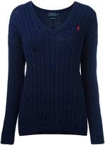 Polo Ralph Lauren cable knit V-neck jumper - women - Cotton - S