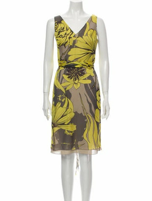 Valentino Silk Knee-Length Dress Yellow