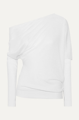 Tom Ford One-shoulder Draped Cashmere And Silk-blend Sweater - Ivory