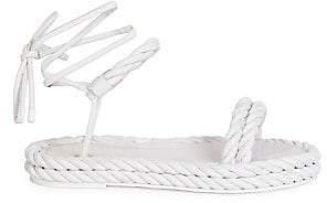 Valentino Women's Garavani The Rope Ankle-Wrap Leather Flatform Sandals