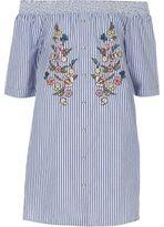 River Island Girls blue stripe floral bardot shirt dress