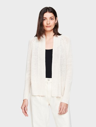 White + Warren Corded Linen Rib Placket Open Cardigan