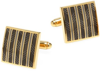 Cufflinks Inc. Ox & Bull Trading Co. Black and Gold Striped Square Cufflinks