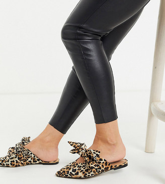 ASOS DESIGN Wide Fit Letty bow slingback ballet flats in leopard