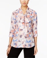 NY Collection Petite Tie-Neck Bow Blouse