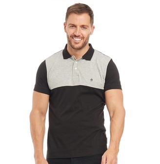 French Connection Mens Block Contrast Collar Polo Black/Light Grey Melange