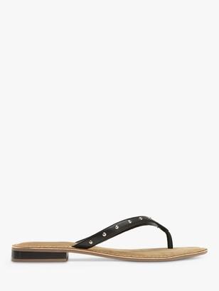 Mint Velvet Ellen Leather Studded Flip Flops, Black