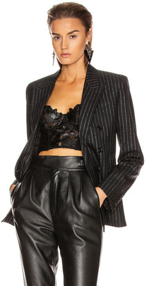 Saint Laurent Striped Blazer in Black & Silver | FWRD