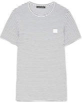 Acne Studios Nele Face Appliquéd Striped Cotton-jersey T-shirt - White