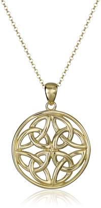 Celtic Amazon Collection 18k Yellow Gold Plated Sterling Silver Triquetra Trinity Knot Medallion Pendant Necklace 18""