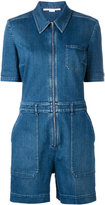 Stella McCartney short sleeved denim jumpsuit - women - Cotton/Polyester/Spandex/Elastane - 38