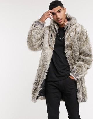 Urban Code Urbancode faux fur longline hooded jacket in textured grey